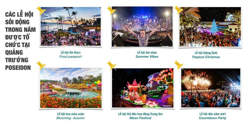 Các lễ hội sôi động trong năm được tổ chức tại quảng trường Poseidon