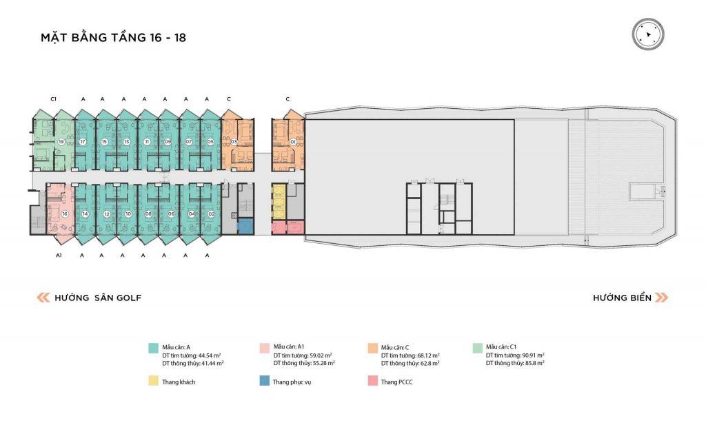 Mặt bằng căn hộ tầng 16-18 tháp Alaric