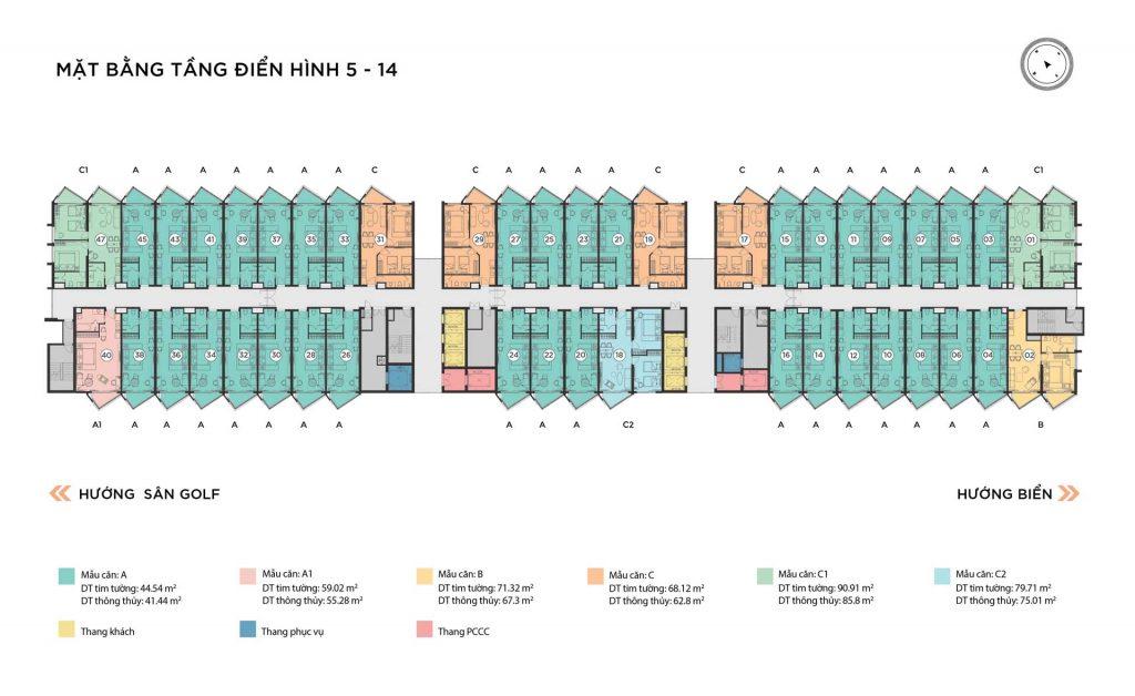 Mặt bằng căn hộ tầng 5-14 tháp Alaric